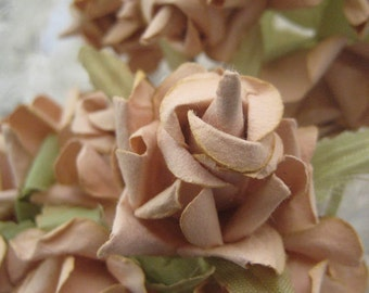 Paper Millinery Flowers 12 Dainty Handmade Roses In Cocoa