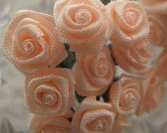 Wholesale Lot Satin Millinery Flowers 144 Handmade Tiny Blossoms In Peach