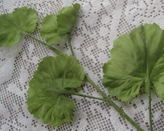 4 Vintage Millinery Leaves Made In Germany Silk Leaves Light Green