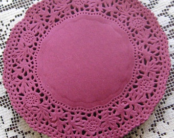 Made In Germany 10 Fancy Paper Lace Doilies Doily In Mulberry 4 Inch  GD 310 MB