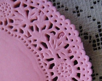 Made In Germany 10 Fancy Paper Lace Doilies Doily In Pink 4 Inch