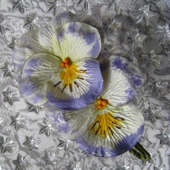 Millinery Flowers 2 Jumbo Handmade Paper Pansies Lilac And Cream