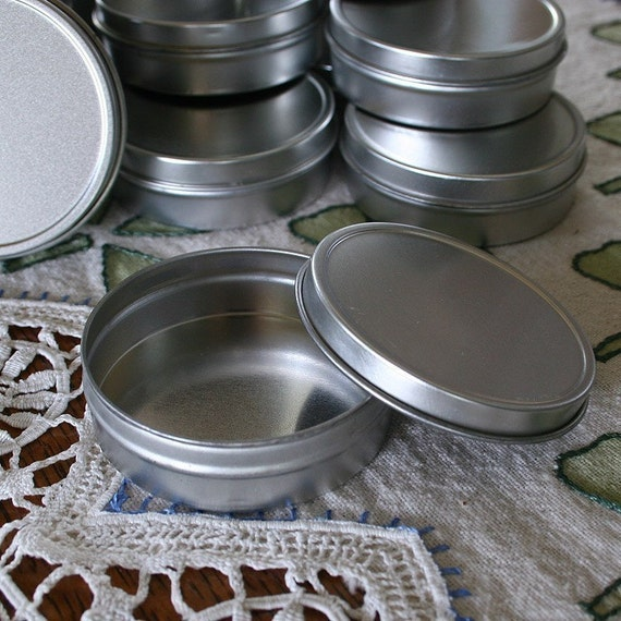 10 Blank Round Metal Tins 2 oz. Size Commercial Quality - Ready to Decorate - Perfect for Balms and Salves