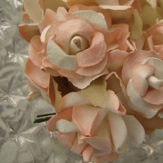 12 Handmade Paper Millinery Princess Roses In Peach And Ivory