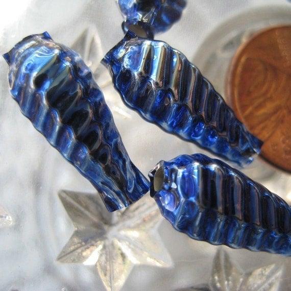 Mercury Glass Beads 10 Fancy Christmas Garland Beads Handmade In Czech Republic  001