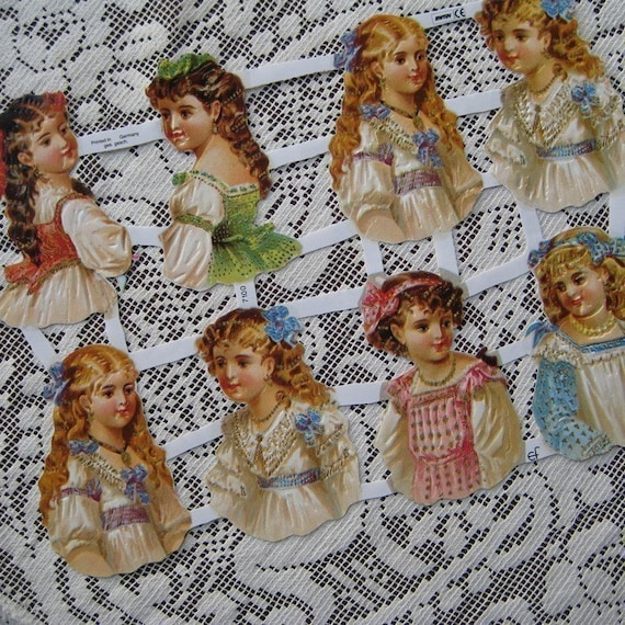 Germany Paper Scraps Lithographed Die Cut Victorian Girl Images