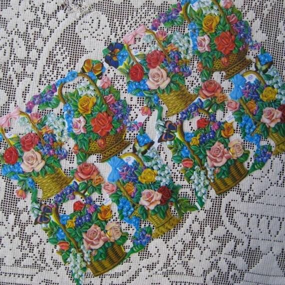 Made In England Die Cut Paper Scraps Roses Baskets Flowers  934