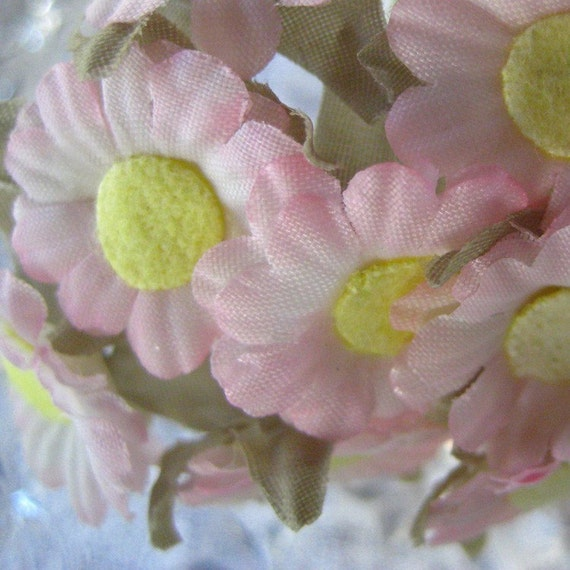 Fabric Millinery Flowers 12 Pink Daisies