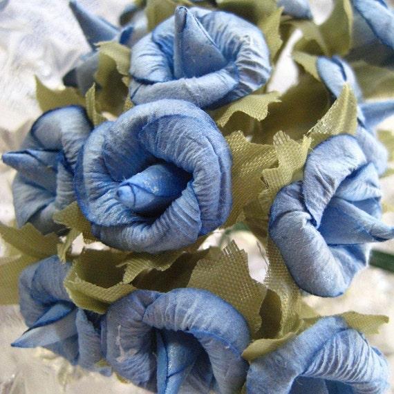 Paper Millinery Flowers 24 Handmade Cornflower Blue Blossoms
