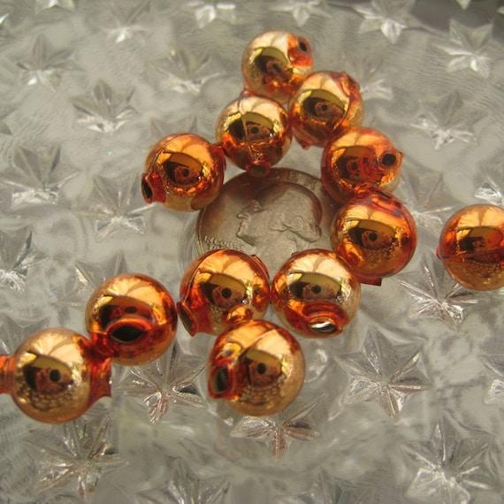 Mercury Glass Beads 12 Czech Republic Christmas Garland Beads 12mm Copper