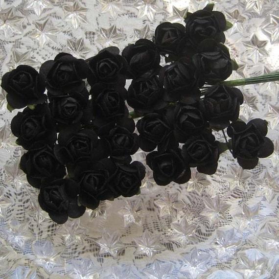 Paper Millinery Flowers 24 Petite Handmade Roses In Black
