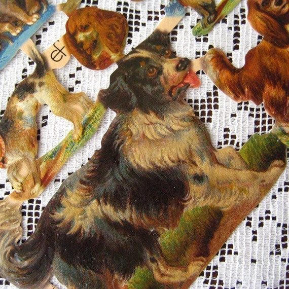 Germany Paper Scraps Lithographed  Die Cut Victorian Dogs