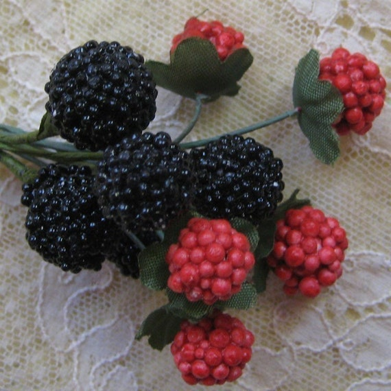 Millinery Fruit Cluster of 10 Composition Raspberries And Blackberries