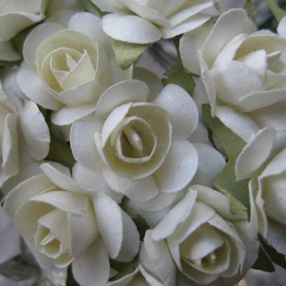 Paper Millinery Flowers 24 Petite Handmade Roses In Ivory