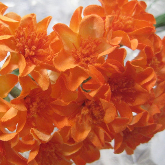 20 Handmade Paper Millinery Small Zinnia Flowers In Orange