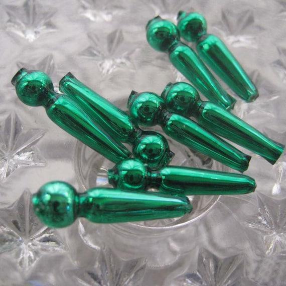 8 Fancy Mercury Glass Christmas Garland Green Beads Czech Republic  050 GR