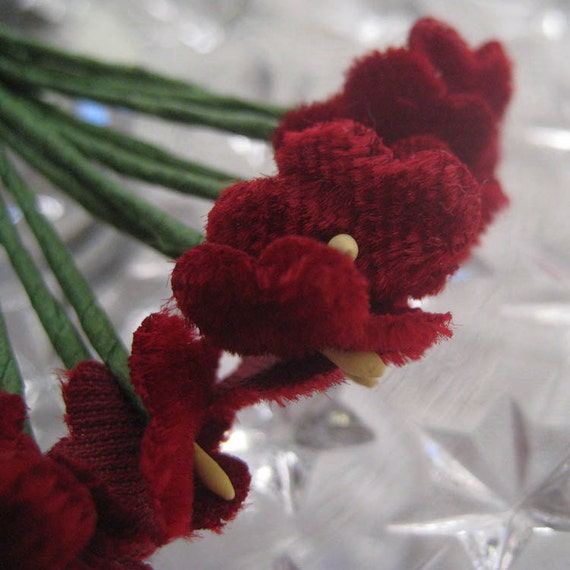 12 Millinery Burgundy Velvet Forget Me Nots Flowers