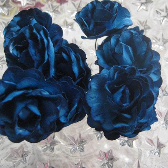 Paper Millinery Flowers 12 Sweetheart Roses In Peacock Blue