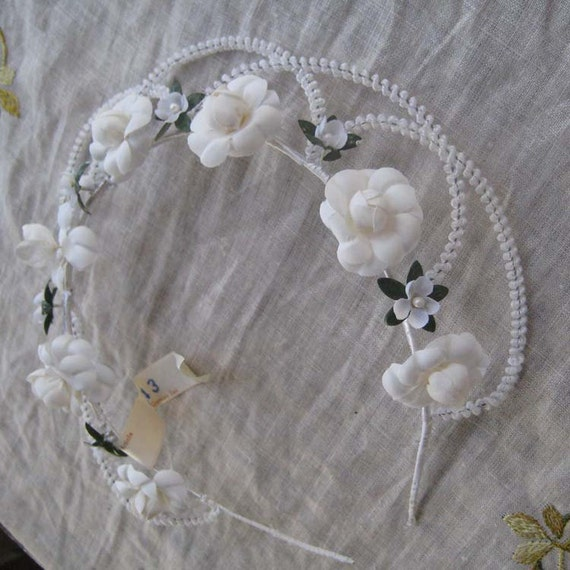 Vintage Wedding Crown Millinery Headpiece From East Germany 1950s Old Store Stock