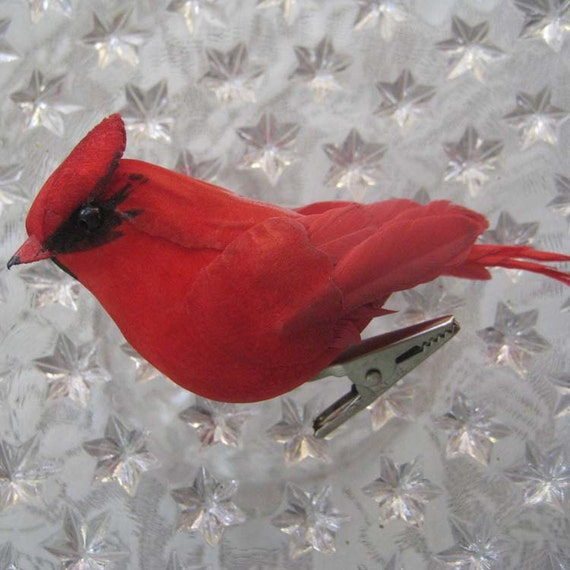 Red Feather And Fiber Cardinal Bird Handmade With Clip