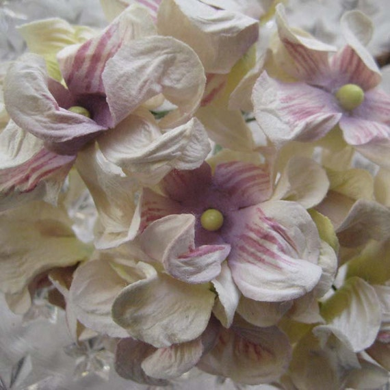 Millinery Flowers Hydrangea Handmade Paper Flower Cluster In Lavender And Cream