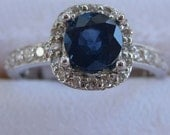 1.64 Carat Blue Sapphire and Diamond Ring -- 18K White Gold