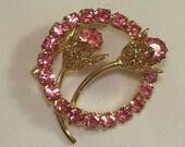 """VINTAGE Pink Rhinestone Brooch, 1.25"""" Diameter"""