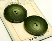 2 Big Retro 1930-40s Vintage PINE Green Marbleized Catalin BAKELITE Coat BUTTONS on Store Card