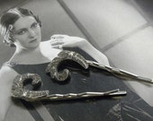 ABSTRACT Art Deco .835 Silver PASTE  HAIRPINS Bobby Pins Hair Sticks for Bride or Formal