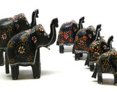 6 Hand Carved Painted WOOD ELEPHANT FIGURINES Vintage Set from India