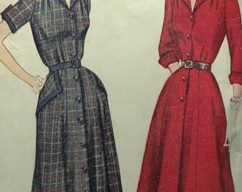 1940s Vintage Tailored Full Skirt SHIRTWAIST DRESS Swing Era Simplicity 3707 PATTERN Big Wing Collar French Cuffs or Short Sleeve Rockabilly