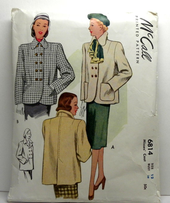 Coat patterns misses double breasted