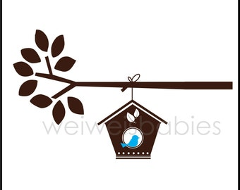 Birdhouse vinyl decal wall art sticker