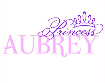 Custom personalized Princess name wall decal