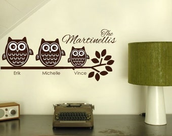 3 Owl Family on Branch Vinyl Wall Decal