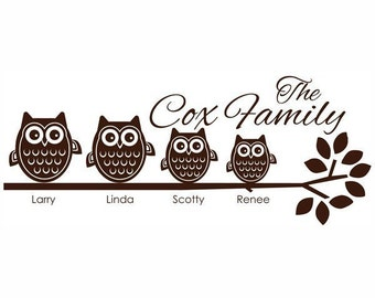 4 Owl Family on Branch Vinyl Wall Decal