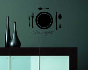 Bon Appetit table setting vinyl wall decal