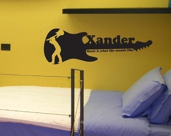 Personalized guitar wall decal