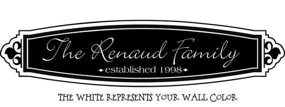 Family name established vinyl decal