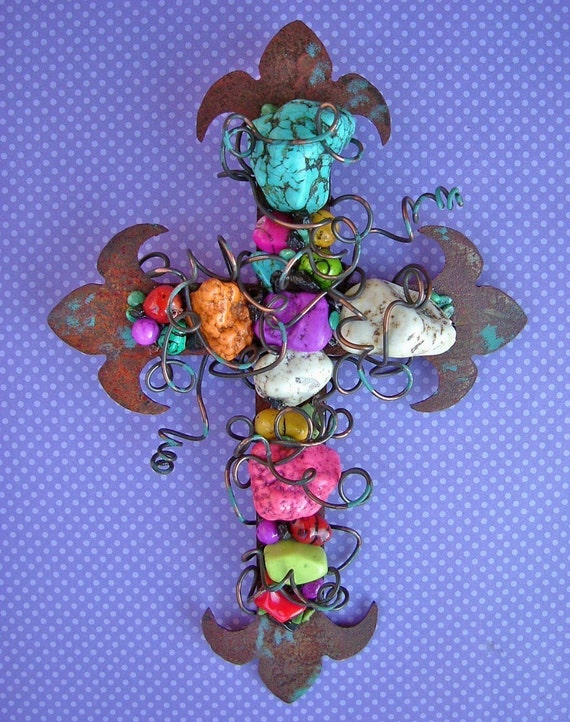 Rusty Wire Wrapped Turquoise Beaded Fleur de lys Cross