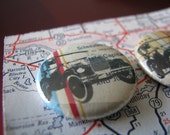 OOAK  Four Model A Ford magnets printed on vintage Shell Oil California map No. 2 READY to SHIP