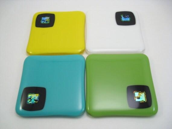 Dichroic Fused Glass Coaster Set - Green, Turquoise, Yellow, White