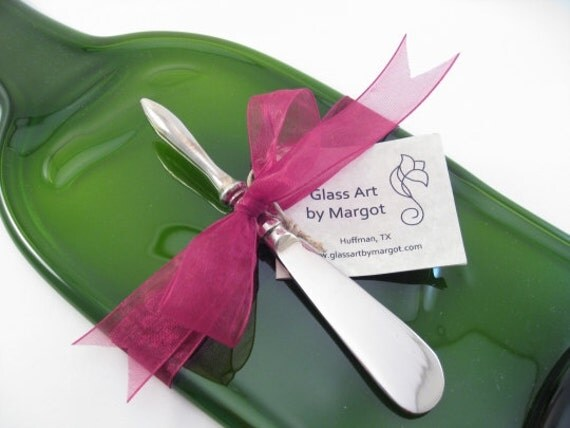 Cheese Board Tray With Spreader Wine Bottle Recycled Glass