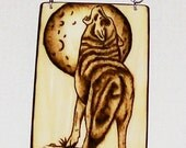 Woodburning or Pyrography of Wolves  3 Separate Wolf Woodburnings Linked by Chain for Wallhanging