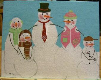 Original Folkart Painting on Canvas Snowman Family SNOWMEN