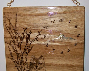 Woodburning Pyrography Wall Hanging Clock with Wolf White Birch Tree and Saying