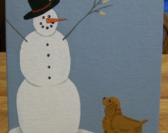 An Original Folkart Painting on Canvas Dog looking at a Snowman