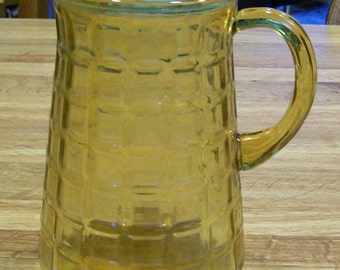 Vintage 2 QT Glass Pitcher in Golden Yellow Squares Possible Maker Indiana Glass Company