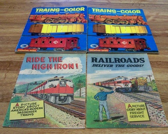 2 1955 Coloring Books TRAINS TO COLOR Locomotives Cars and Railroad Equipment 2 Comic Books from the 1950s