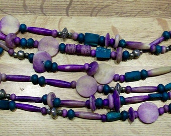 Vintage 3 Strand Necklace Made of DYED BONE BEADS, Metal and Wood Beads